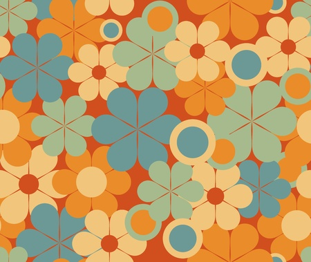 tileable: Colorful floral retro seamless pattern Illustration