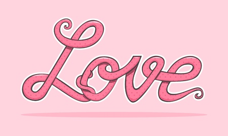The word love with polka dot texture Vector