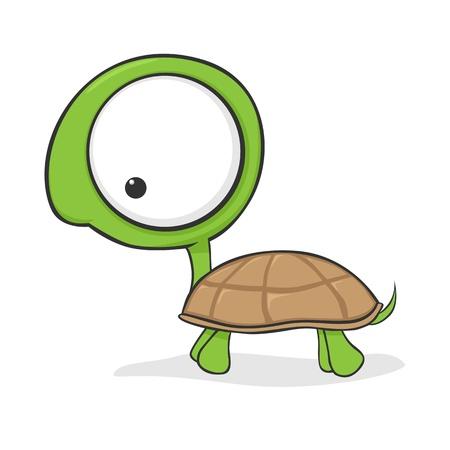 tortuga caricatura: Tortuga cartoon lindo con enormes ojos Vectores