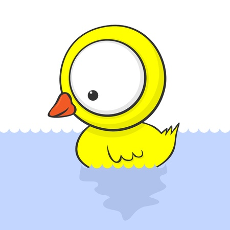 birds lake: Cute cartoon baby duck with huge eyes. Illustration