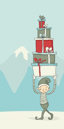 Cartoon of an elf carrying gift boxes for Christmas Vector