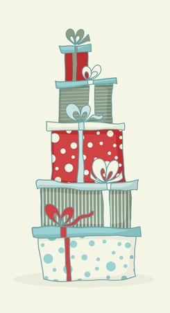 christmas gifts: Colorful cartoon gift boxes for Christmas or birthday card.