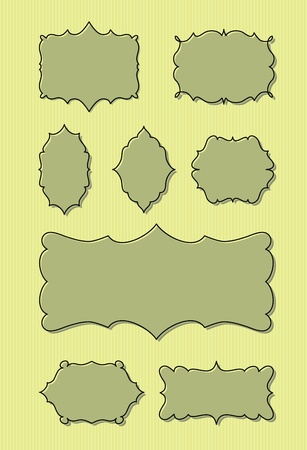 Set of eight vintage frames with space for your message. Stock Vector - 10480630