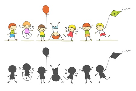 Cute cartoon kids playing. Vector