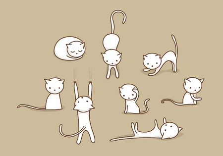 cat stretching: Cute white doodle cats in various positions