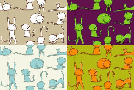 Seamless doodle cats pattern, four color versions. Vector