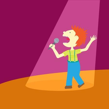 niño cantando: Chico de dibujos animados cantando en el centro de atención. Puede colocar su propio texto. Vectores
