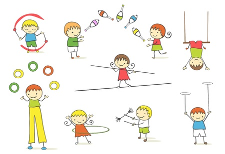 Juggling kids collection. Vettoriali