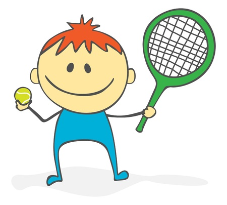 Cute tennis player cartoon Stock Vector - 10899854