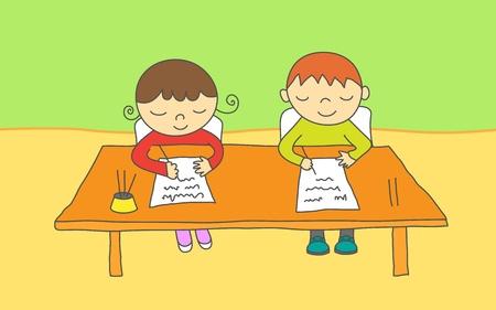 niños escribiendo: Los niños y niñas en la escuela tomando un examen Vectores