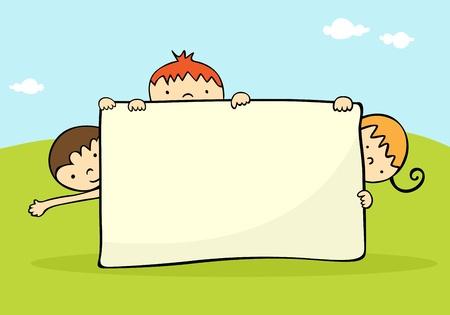 holding notes: Kids hiding behind a banner Illustration