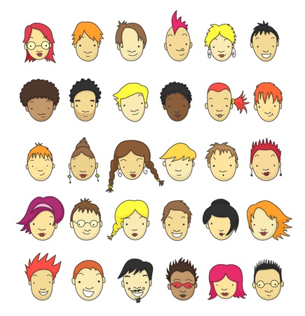 punk hair: Set of 30 different cartoon faces for avatar.