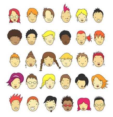 kurz: Set von 30 verschiedenen Comic-Gesichter f�r Avatar.
