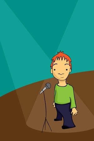 Shy stand up comedian standing on the stage Vector