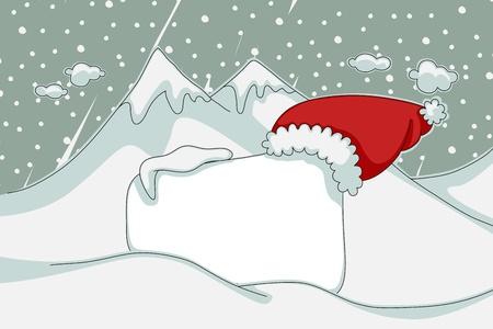 snowy background: Retro Navidad banner con fondo nevado. Vectores