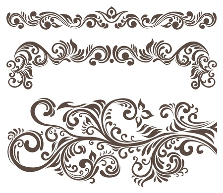 motif floral: Hand-drawn curly floral elements and letterhead.  Illustration