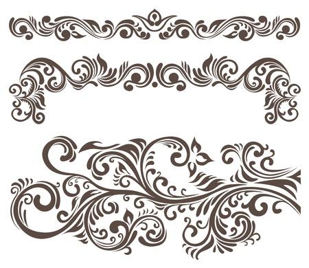 Hand-drawn krullend florale elementen en briefpapier. Vector Illustratie
