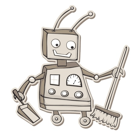 Retro style cartoon robot with broom and dustpan. Vector