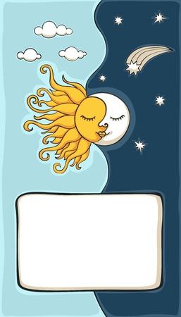 zon en maan: Zon en maan cartoon met exemplaar-ruimte