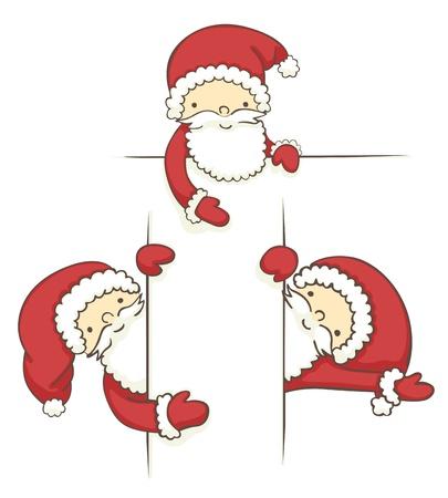 red beard: Set of three banners with cartoon santa.