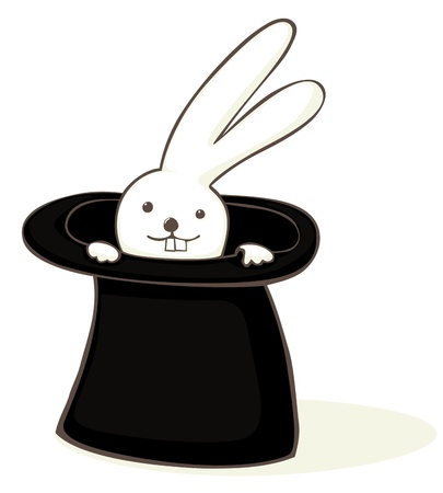sorcerer: Cute bunny in a hat cartoon