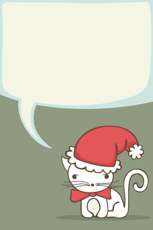 Christmas card for kids with cartoon cat wearing a Santa hat. Vector