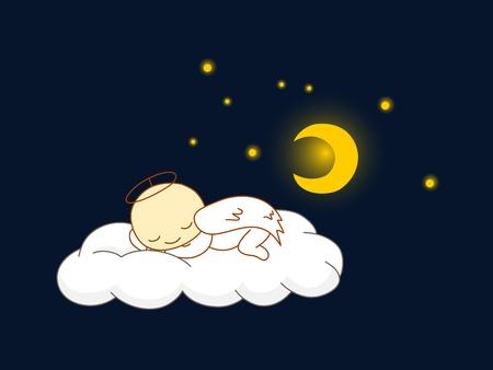Cute kid in angel costume sleeping on a cloud.  Vector