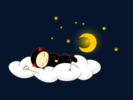 Cute kid in devil costume sleeping on a cloud.  Vector