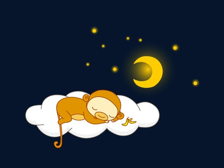 Cute kid in monkey costume sleeping on a cloud.  Vector