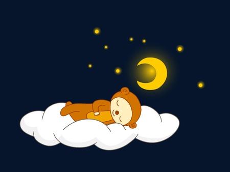 Cute kid in bear costume sleeping on a cloud.  Vector