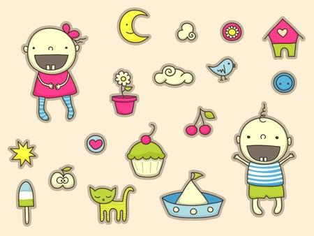 Cute stickers for children Vettoriali