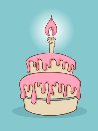 Cartoon birthday cake with one candle. Vector