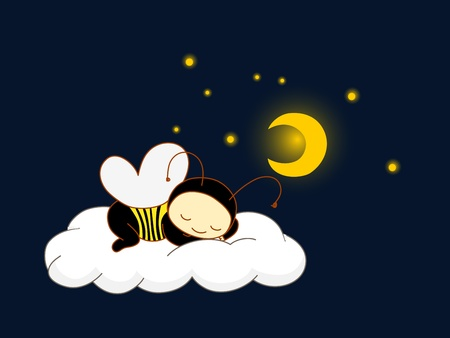 Cute kid in bee costume sleeping on a cloud.  Vector