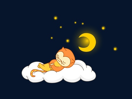 Cute kid in cat costume sleeping on a cloud Vector