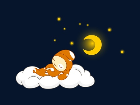 Cute dog sleeping on a cloud Vector