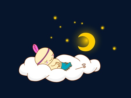 Cute kid in indian costume sleeping on a cloud Vector