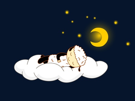 Cute kid in sheep costume sleeping on a cloud Vector
