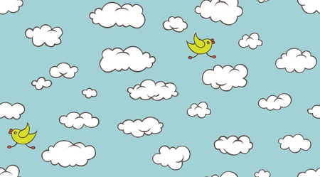 Seamlessly tileable background with cartoon clouds and bird Stock Vector - 11675109
