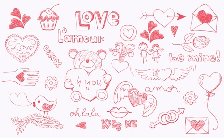 hand drawn wings: Doodle love related elements for Valentine s Day Illustration