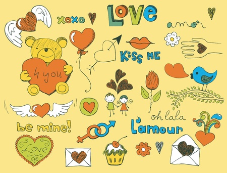 Colorful love related doodle for your Valentine design. Vector