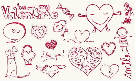 Love related doodle for your Valentine design.  Vector