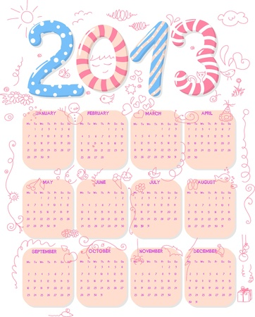 Calendar of year 2013 with cute childish doodle. Vector