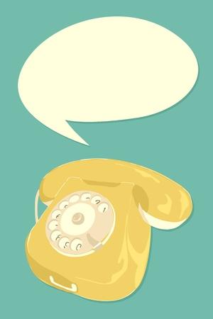 Retro telephone with text balloon. Vector