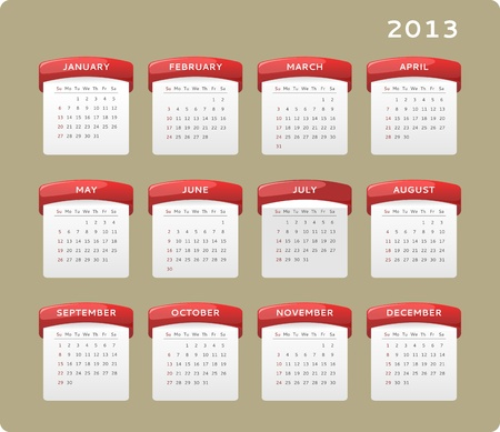 Calendar of year 2013, week starts on Sunday