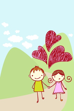 couples outdoors: Cute couple in love taking a walk Illustration