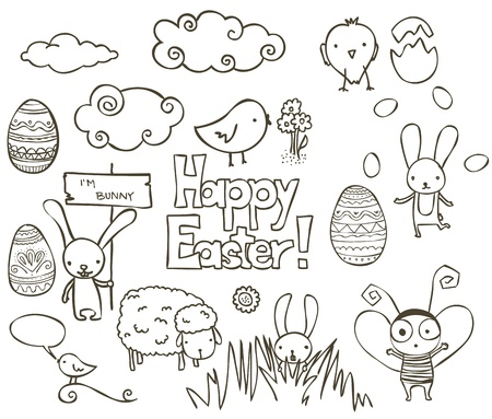 Collection of Easter related doodle. Vector