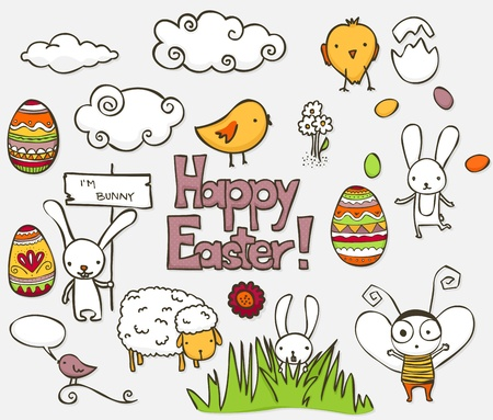 Collection of colorful Easter related doodle. Vector