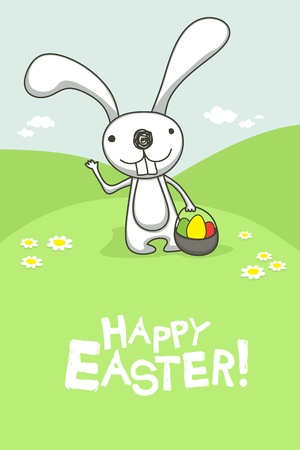 cartoon easter basket: Easter card with cute bunny.