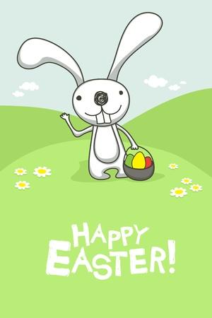 conejo caricatura: Tarjeta de Pascua con el conejito lindo. Vectores