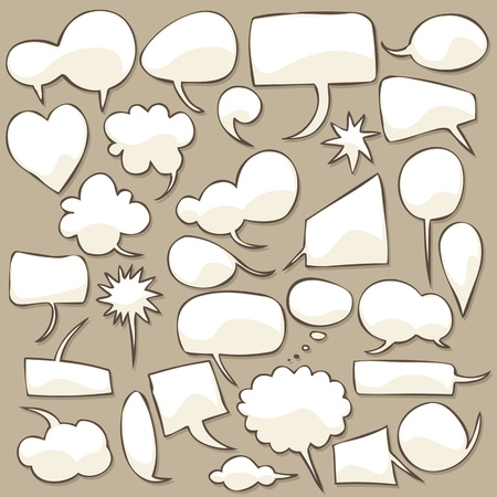 Collection of different shaped speech bubbles. 矢量图像